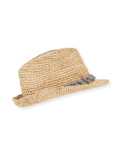 Hitch Crochet Raffia Fedora Hat w/ Pompom Hat Band