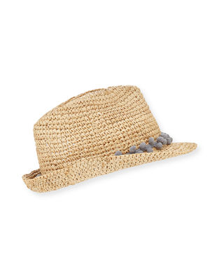 Tracy Watts Hitch Crochet Raffia Fedora Hat w/