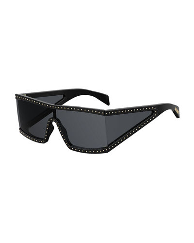 Acetate Shield Sunglasses w/ Stud Trim
