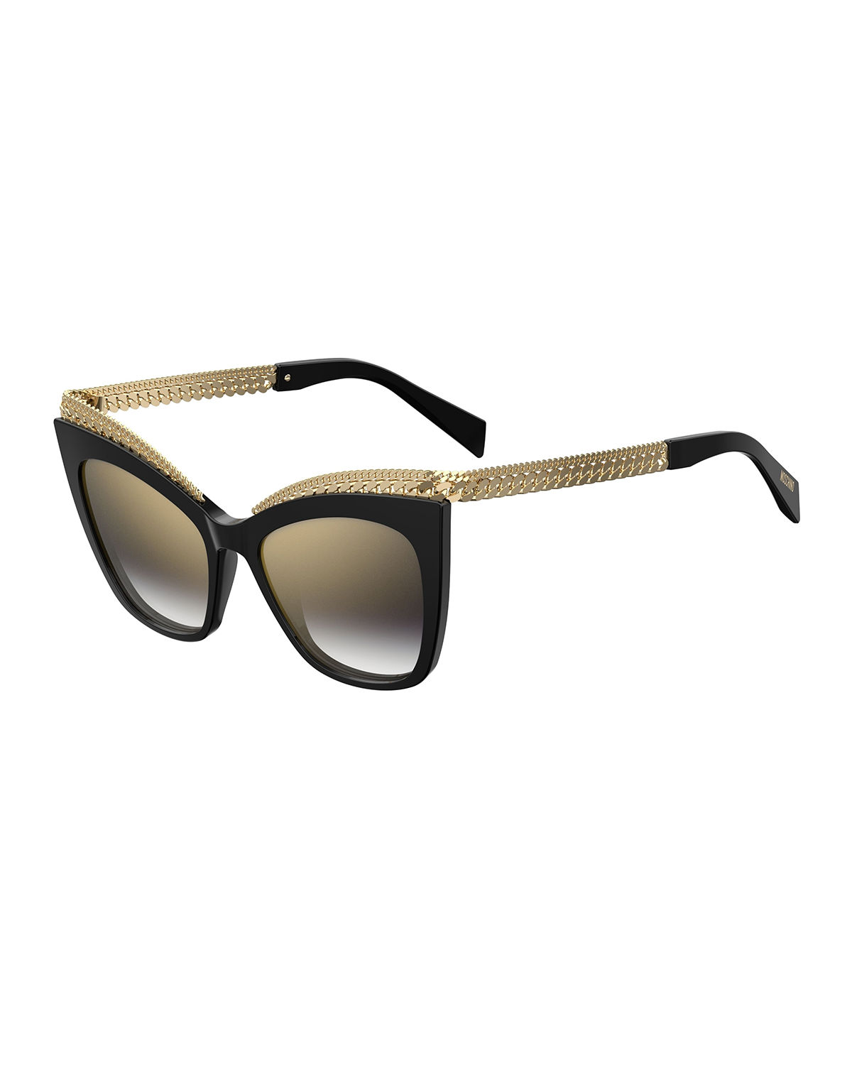 Mirrored Cat-Eye Sunglasses w/ Metal Curb Chain Arms