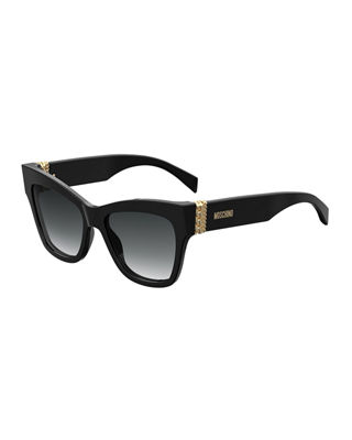 Square Acetate Sunglasses w/ Chain Temples