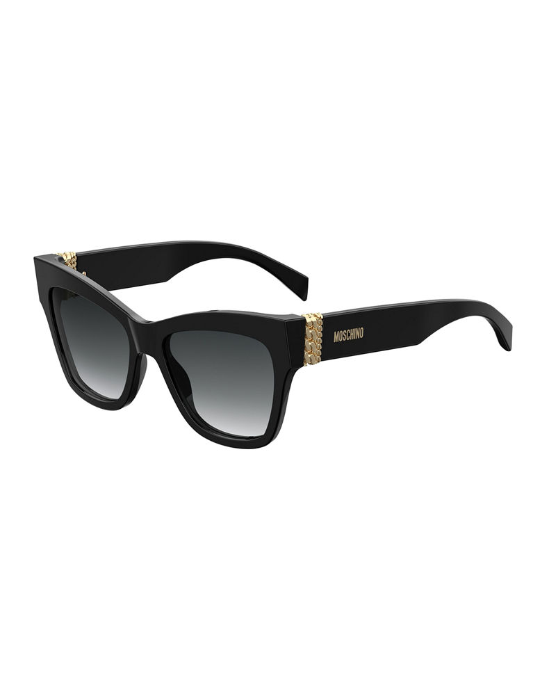 Moschino Cat Eye Acetate Sunglasses w/ Chain Temples