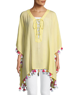 Image 1 of 2: Lace-Up Tunic with Tassels