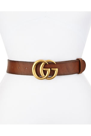Gucci Leather Logo-Buckle Belt