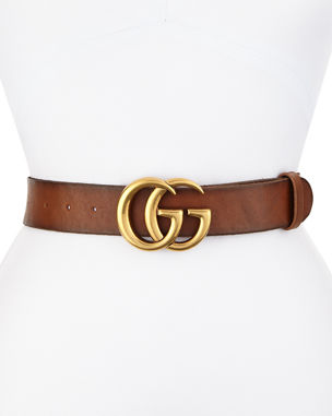 eddb4608ebc Gucci Leather Logo-Buckle Belt
