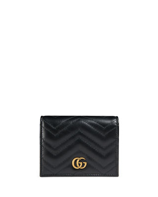 Image 1 of 4: GG Marmont Quilted Leather Flap Card Case