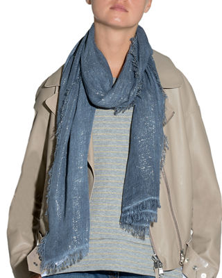 Image 1 of 2: Fringed-Trim Metallic Scarf