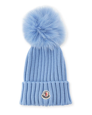 Genuine Fox Fur Pom Wool Beanie - Blue, Light Blue