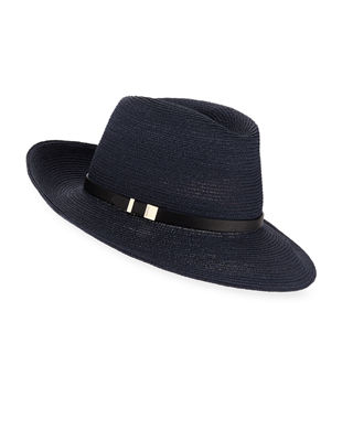 Image 1 of 2: Florence Hemp-Blend Fedora w/ Leather Hat Band