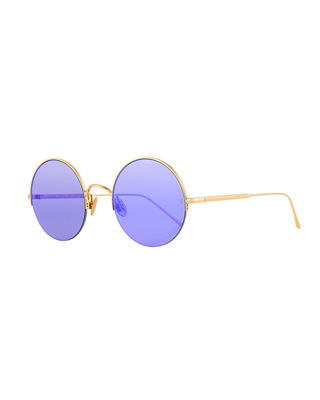SUNDAY SOMEWHERE Raine Round Metal Semi-Rimless Sunglasses in Yellow Pattern
