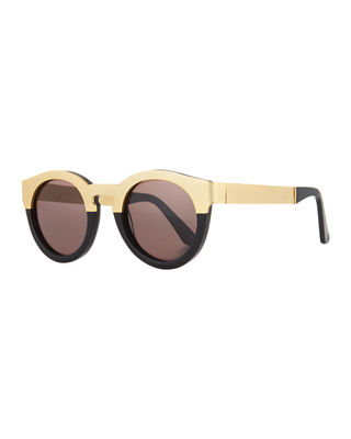 SUNDAY SOMEWHERE Soelae Acetate & Metal Round Sunglasses in Black/Gold