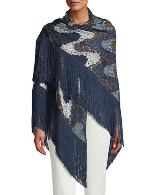 Image 3 of 3: Flower Knit Shawl w/ Long Fringe