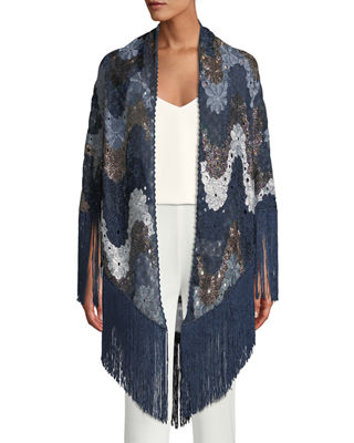 Image 1 of 3: Flower Knit Shawl w/ Long Fringe