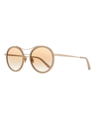 Sunday Somewhere Roso Acetate & Metal Round Sunglasses