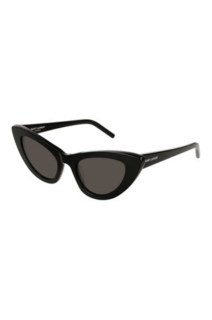 Saint Laurent Lily Cat-Eye Acetate Sunglasses, Black