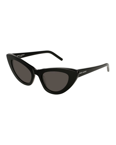 Image 1 of 4: Saint Laurent Lily Cat-Eye Acetate Sunglasses, Black