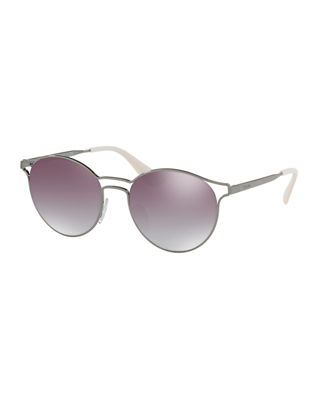 Prada Round Metal Open-Inset Mirrored Sunglasses
