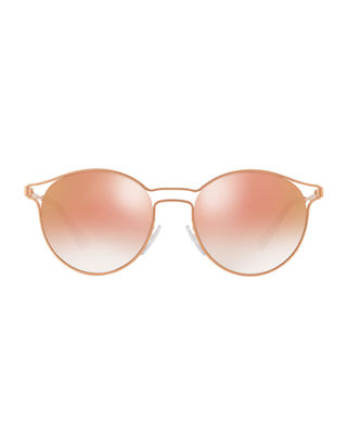 Image 2 of 2: Round Metal Open-Inset Mirrored Sunglasses