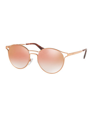 Image 1 of 2: Round Metal Open-Inset Mirrored Sunglasses