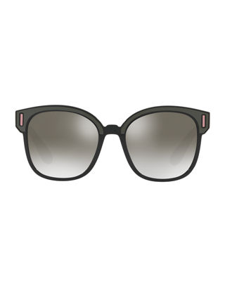 Image 2 of 2: Square Colorblock Mirrored Sunglasses