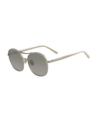 Chloe Nola Metal Aviator Sunglasses
