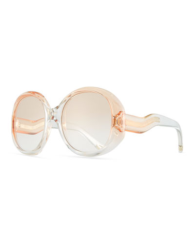 Qleo Semi-Transparent Oval Sunglasses