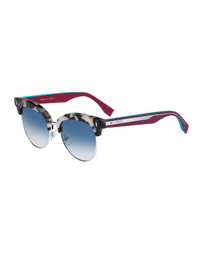 Fendi Mirrored Half-Rim Sunglasses