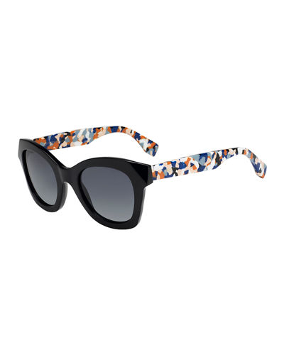Fendi Square Sunglasses w/ Contrast Speckled Arms
