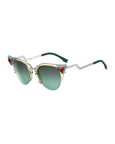 Fendi Semi-Rimless Cat-Eye Gradient Sunglasses w/ Pyramid Detail