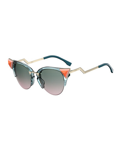 Semi-Rimless Cat-Eye Gradient Sunglasses w/ Pyramid Detail