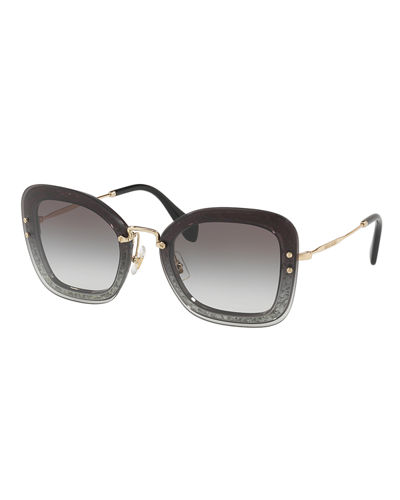 Miu Miu Rectangle Glitter-Illusion Frame Sunglasses