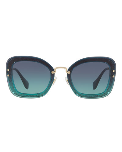 Rectangle Glitter-Illusion Frame Sunglasses