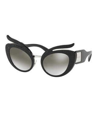 Miu Miu Glittered Mirrored Cat-Eye Sunglasses