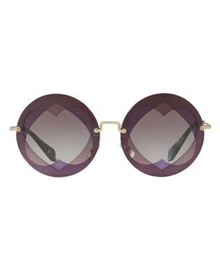 Image 2 of 2: Round Layered Heart Sunglasses