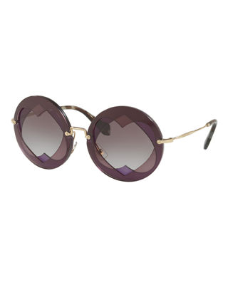 Image 1 of 2: Round Layered Heart Sunglasses