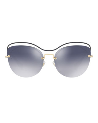 Image 2 of 2: Metal Mirrored Butterfly Sunglasses