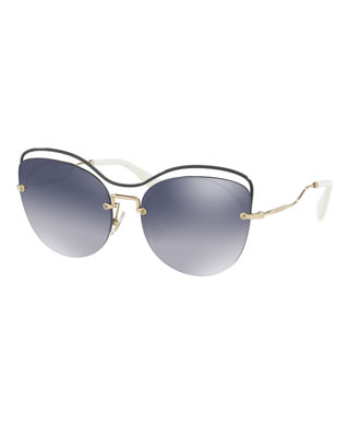 Image 1 of 2: Metal Mirrored Butterfly Sunglasses