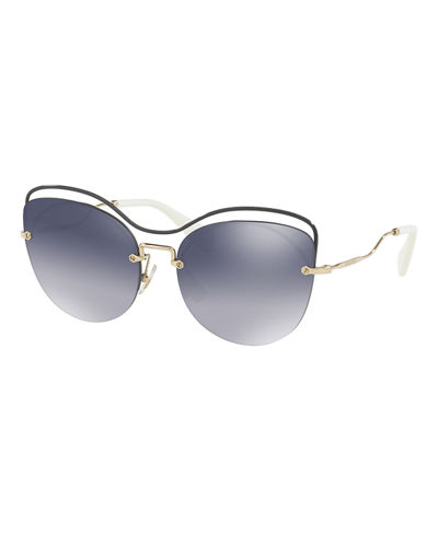 Metal Mirrored Butterfly Sunglasses