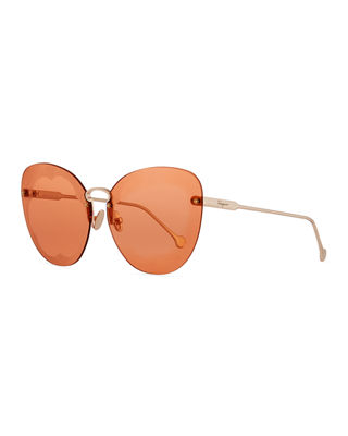 Salvatore Ferragamo Fiore Rimless Cat-Eye Sunglasses