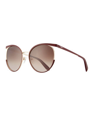 Salvatore Ferragamo Metal Cat-Eye Sunglasses