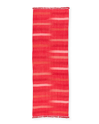 Image 2 of 2: Hand-Loomed Organic Cotton Ikat-Striped Scarf