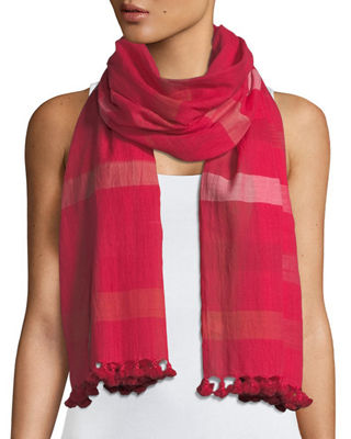 Image 1 of 2: Hand-Loomed Organic Cotton Ikat-Striped Scarf