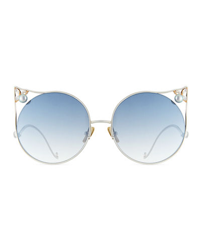 Anna-Karin Karlsson The Moon Cat-Eye Sunglasses w/ Swarovski Crystal and Akoya Pearl Trim