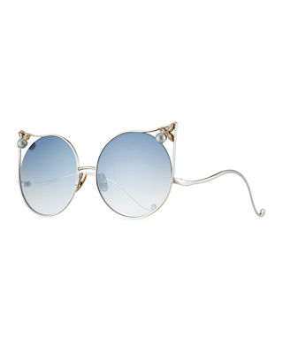 Anna-Karin Karlsson The Moon Cat-Eye Sunglasses w/ Swarovski