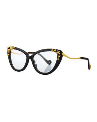 Lily Love Nouveau Acetate Optical Frames W/ 3D Star Trim in Black