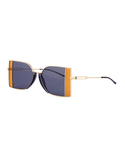 Rectangle Metal Sunglasses w/ Window Pane Contrast