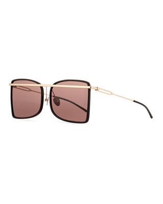 Image 1 of 3: Acetate & Metal Aviator-Style Sunglasses