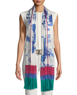 Unusual Flowers Cashmere-Blend Soffio Scarf