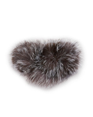 SURELL Fox Fur Ear Headband in Gray