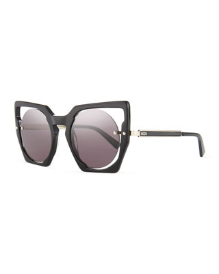 Mirrored Cat-Eye Cutout Sunglasses